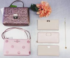 We're blushing for Kate Spade ♠️ Sparkly Bag {$95}, Polka Dot Crossbody {$35}, Pink Wallet {$45}, Cream Wallets {$35}, Necklace {$22} ☎️ Due to the nature of the items holds will only be done over the phone at 519.744.4404! #purseaddict #katespade #designerwear #upcycle #summerdays #blush | www.platosclosetkitchener.com
