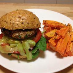 Thai chicken burger with sweet potato fries - super treat meal from Michelle Bridges 12WBT