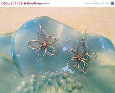 ON SALE Silver Wire Flower Earrings.