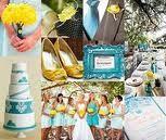 Yellow teal wedding look flowers