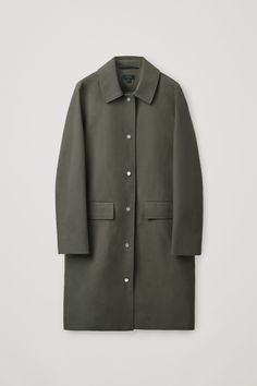 Cos Straight Cotton Coat In Green Blue Trench Coat, Long Puffer Coat, Green Coat, Belted Coat, Khaki Green, Bomber Coat, Models, Coats For Women, Mantel