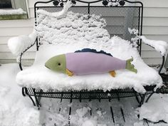 snow fish Kirsty Elson, Fish Pillow, Fish Patterns, Toddler Bed, Snow, Couch, Pillows, Furniture, Creative Ideas