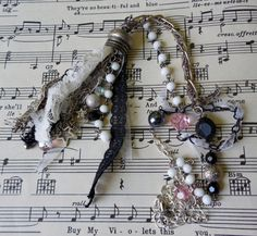 Unique Tassel Statement Necklace Vintage Style Elegantly Whimsical Upcycled/Recycled Jewelry on Etsy, $15.00