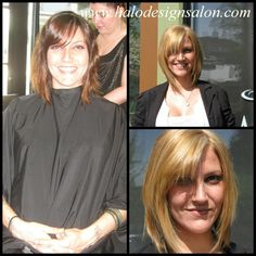 Brunette to Blonde & Long A-Line  Halo Designs Salon Hair Cut, Colored, & Styled By Charlene Bancel