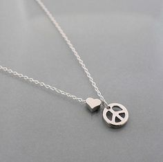 Peace+Necklace+tiny+heart+small+peace+sign+pendant+by+B9studio,+$24.00