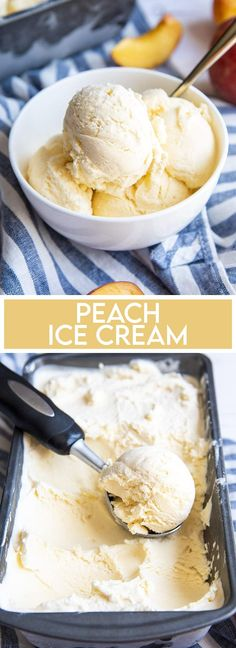 This homemade peach ice cream is so rich and creamy with a delicious fresh peach taste throughout. Its so easy to make, and has the perfect taste of summer in every bite. Easy No Bake Desserts, Dessert Recipes, Dessert For Dinner, Simple Dessert, Ice Cream Mix, Homemade Snickers, Breakfast Snacks, Homemade Ice Cream, Ice Cream Recipes