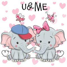 Two Cute Cartoon Elephants and butterflies. Two cute Elephants on a hearts background royalty free illustration Cartoon Elephant, Elephant Love, Elefante Tribal, Butterfly Clip Art, Disney Cartoon Characters, Heart Background, Disney Wallpaper, Free Illustrations, Funny Cartoons