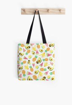 Watercolor Pineapple, Avocado, Watermelon, and flowers summer tropical pattern. Tropical Fruit Salad, Tropical Pattern, Long Hoodie, Cotton Tote Bags, Pouches, Decorative Throw Pillows, Watermelon, Diaper Bag, Print Design