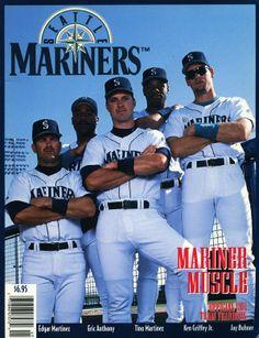 Edgar Martinez, Eric Anthony, Tino Martinez, Ken Griffey Jr. & Jay Buhner, #Mariners Magazine Yearbook (1994)