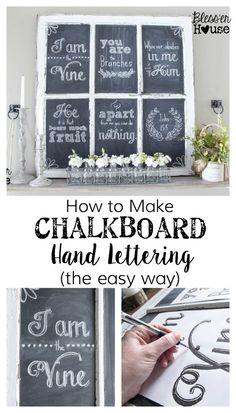 How to Make Chalkboard Hand Lettering the Easy Way & Spring Shelf Vignette   Bless'er House - I wish I'd known this sooner!