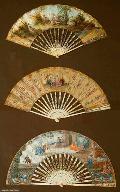 "THREE PAPER LEAF FANS, 1775-1810    Go Back  Lot: 61  April 17, 2013 - NYC  New York City  All w/ narrow, pierced & painted ivory sticks & guards, hand painted figural leafs, 10"" to 10.75""; very good. BM"