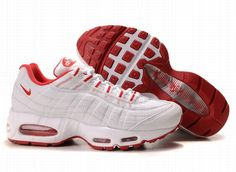 buy online 9931b 1583b Chaussures Nike Air Max 95 Blanc  Rouge -   Nike Chaussure Pas Cher,Nike  Blazer and Timerland
