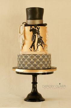 Charleston by Darcey Oliver Cake Couture Art Deco Cake, Cake Art, Art Cakes, Beautiful Cakes, Amazing Cakes, 1920s Cake, Zombie Wedding Cakes, Geometric Cake, Fondant