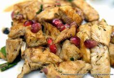 La Piccola Casa: Una ricetta facile e veloce : Bocconcini di petto di pollo saltate in padella con erbe di Provenza e melograno