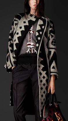 Casaco blanket com jacquard gráfico | Burberry