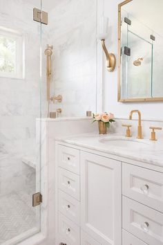 French Cottage Bathroom Inspiration round-up. A great way to get your creative j… – Marble Bathroom Dreams Guest Bathroom Remodel, Bathroom Renos, Bath Remodel, Bathroom Interior, Bathroom Marble, Narrow Bathroom, French Bathroom, Brass Bathroom Fixtures, Kohler Bathroom