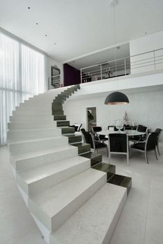 Check Out Modern Staircase Design For Your Home. Most modern staircase design is meticulously detailed, exposing all the working elements and eschewing trim, moldings, and other decoration. Stairs And Staircase, House Stairs, Staircase Design, Staircases, White Stairs, Marble Staircase, Concrete Staircase, Small Staircase, Steel Stairs