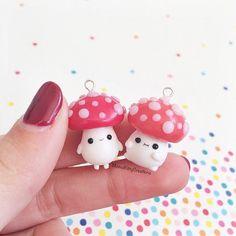 Cute Mushroom Man Necklace Kawaii Polymer by MomoKittyCreations