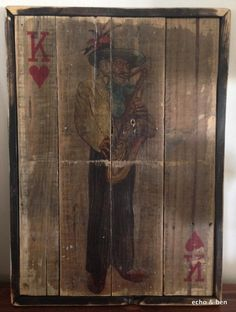 Jazz King of hearts on saxophone with recalimed wood