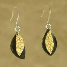 Golden Seeds Earrings handmade by Garden of Silver. www.gardenofsilver.com