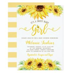 Shop Sunflower Girl Summer Floral Baby Shower Invitation created by YourMainEvent. Baby Shower Invitation Templates, Baby Shower Invitations For Boys, Invitation Ideas, Floral Invitation, Baby Girl Shower Themes, Baby Boy Shower, Sunflower Baby Showers, Sunflower Party, Sunflower Garden
