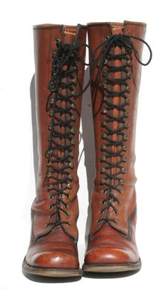 Gorgeous two-tone brown lace-up tall vintage Frye boots, size 7, $225 on Etsy