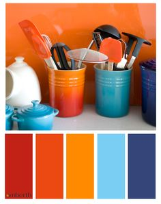 Tangerine and Indigo interior colour scheme