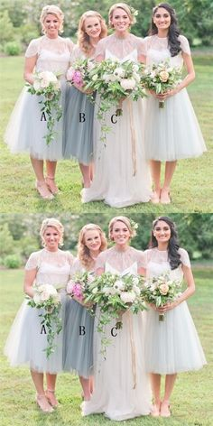 A-Line Round Neck Cap Sleeves Light Grey Tulle Short Cheap Bridesmaid Dresses with Lace, Summer Bridesmaid Dresses, Bridesmaid Dresses With Sleeves, Brides And Bridesmaids, Wedding Attire, Boho Wedding, Decor Wedding, Wedding Outfits, Wedding Decorations, Wedding Ideas