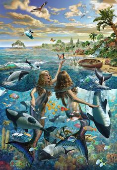 Mermaid Beach Poster Print by Adrian Chesterman Fantasy Mermaids, Mermaids And Mermen, Fantasy Creatures, Mythical Creatures, Mermaid Island, Creation Photo, Mermaid Pictures, Desenho Tattoo, Merfolk