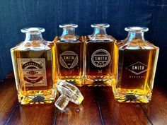 Groomsmen Gift - 4 Personalized Whiskey Decanters – Engraved
