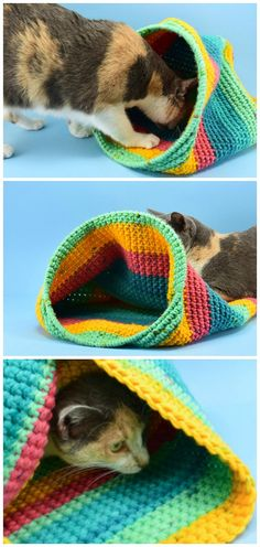 Crochet Crochet Cat Sack Hideaway Free Pattern - #Crochet; #Cat; Pet House Free Patterns