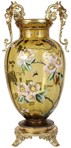 Moser Amber Glass Vase with Enameled Flowers and Gilded Stand
