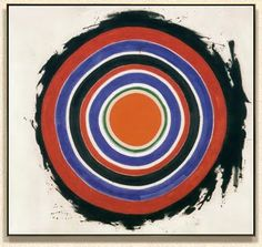 Kenneth Noland's 'Beginnings' painting ... I first got into Abstract Expresssionism and Color Field painting when I was doing my Art GCSE and A Level. Though I love Pollock, Rothko and all the other big names, it was Kenneth Noland's gestural explorations of colour that inspired me most. A big print of his 1958 work 'Beginnings' would hang rather nicely on my Sanderson lined feature wall. @gplan and #IloveGPlanVintage