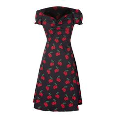 Black Dress with Red Cherry Print