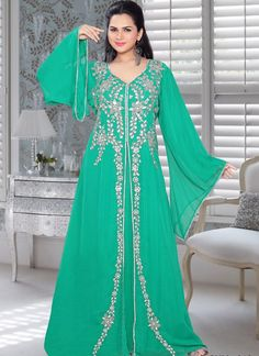 Handmade Jacket Style Party Wear Kaftan in Georgette Fabric and Green Color with Golden Embroidered Jacket Style Saris, Moroccan Caftan, Moroccan Style, Party Kleidung, Chiffon Jacket, Party Mode, Caftan Dress, Kaftan Abaya, Maxi Dress Wedding