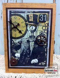 Darkroom Door Mr Bright Ideas Collage Stamp - project by Rachel Greig http://www.darkroomdoor.com/collage-stamps/collage-stamp-mr-bright-idea