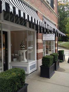 On our facade brick store, white shop, retail design, brick building, build Design Garage, Shop Front Design, Shop Interior Design, Retail Design, Ideas Cafe, Brick Store, Vintage Store, Awning Canopy, Square Planters