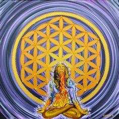 Bloom from within, Golden Flower of life, Original Mandala, Sacred geometry Art, Dot Paintings, Dotillism , meditation, lotus yoga, dots