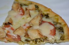 Divine, Gluten Free Pizza Topped With Tomato, Chicken, and Pesto - Gluten Free Mom To Be