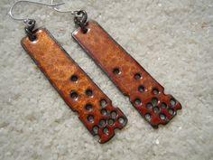 Enamel Earrings, Copper Earrings, Dangle Earrings, Copper Enamel.  Cute idea!