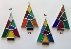 Handmade Stained Glass Patchwork Christmas Tree Suncatcher/Ornament