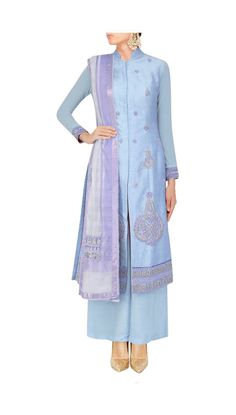 dull blue staright suit with pearl embroidery