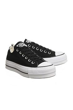 Womens    Converse All Star Low Platform Trainers - Black 6744aa234