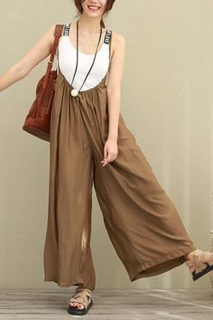 Brown Wide Leg Loose Silk Overalls Women Clothes www. Overalls Women, Moda Casual, Fashion Designer, Dress Robes, Clothing Size Chart, Feminine Style, Jumpsuits For Women, Fashion Outfits, Womens Fashion