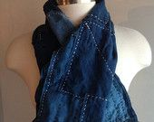 "Boro Scarf - Handmade - Japanese Indigo - (10"" x 40.5"") Made From Antique Material - Denim Sashiko Japan FREE SHIPPING"