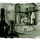 Time for a drink by Donna Keevers Driver  The clock's not antique, but the bottles are.