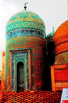 The post says India although this reads more like Samarkand. Love that combination of turquoise and gold.