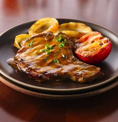 At under 300 calories per serving, this pork chop slathered in whiskey-dijon barbecue sauce and served with a side of veggies is the perfect, quick weeknight meal.