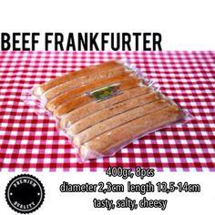Beef Frankfurter No msg, no artificial color, no preservative added. Price : IDR 50.000 Proposed : steam, grilled, fried. Shelf life : 6 months (<20 degrees Celsius).