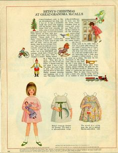 Vintage December 1965 Magazine Paper Doll Betsy's Christmas at Great Grandma McCall's* For lots of free paper dolls International Paper Doll Society #ArielleGabriel #ArtrA thanks to Pinterest paper doll collectors for sharing *